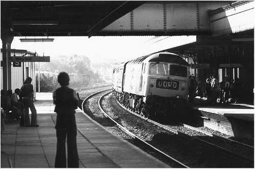 Class 47 arriving at station